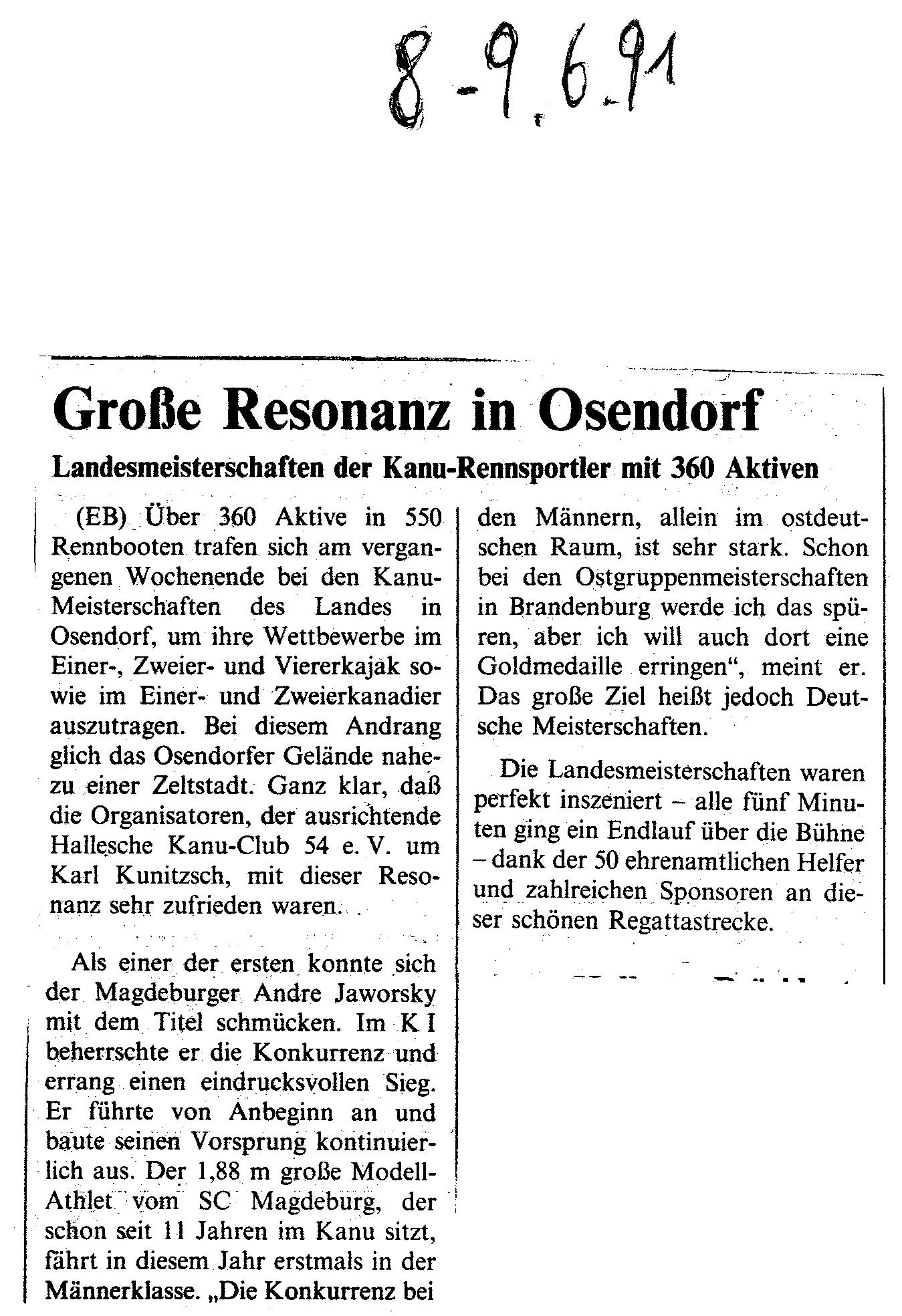 1991-06-09 Große Resonanz in Osendorf