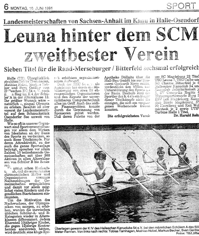 1991-06-10 Leuna hinter dem SCM zweitbester Verein