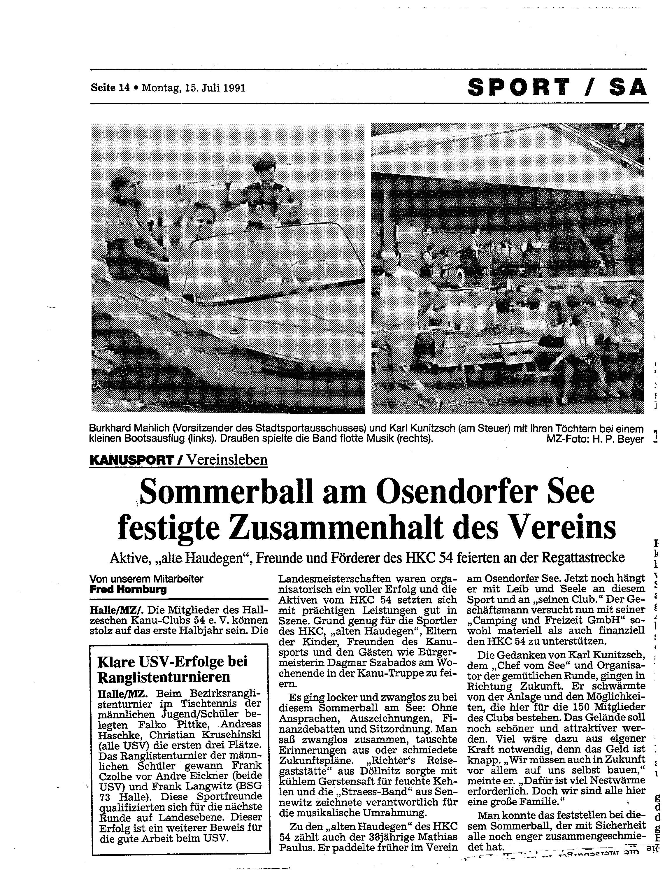 1991-07-15 MZ Sommerball am Osendorfer See festigte Zusammenhalt des Vereins