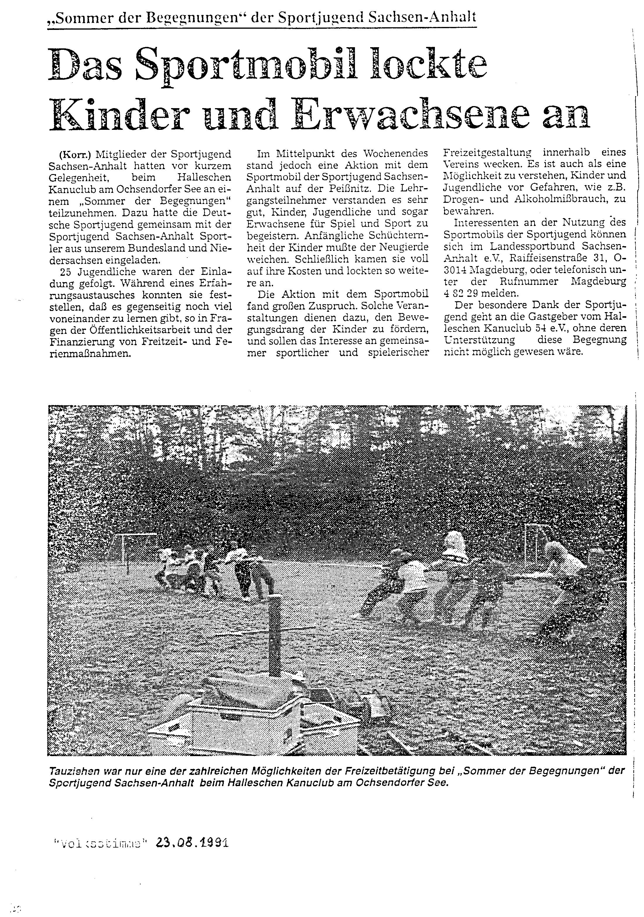 1991-08-23 Sportmobil lockte Kinder und Erwachsene