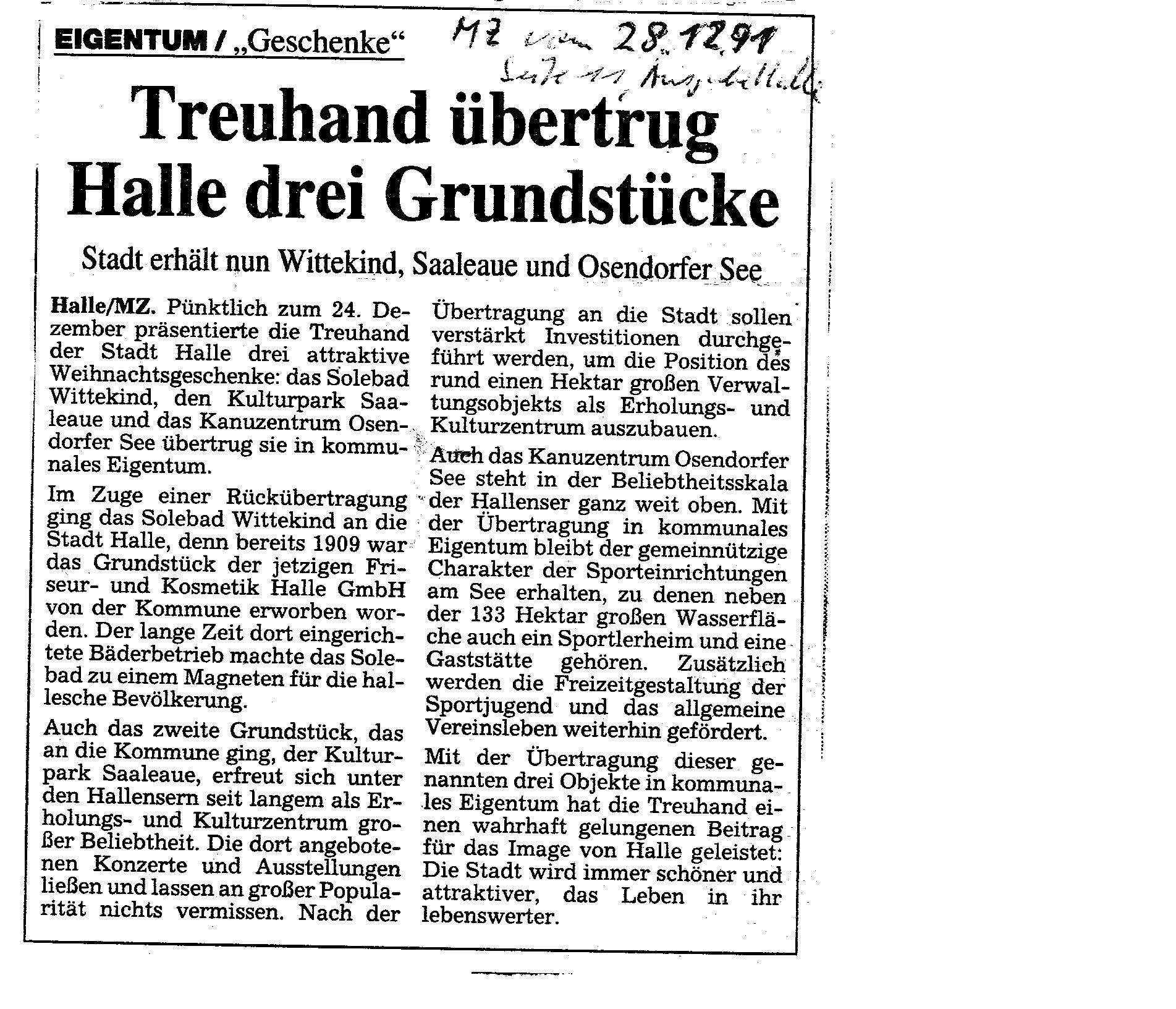 1991-12-28 MZ Treuhand übertrug Halle deri Grundstücke