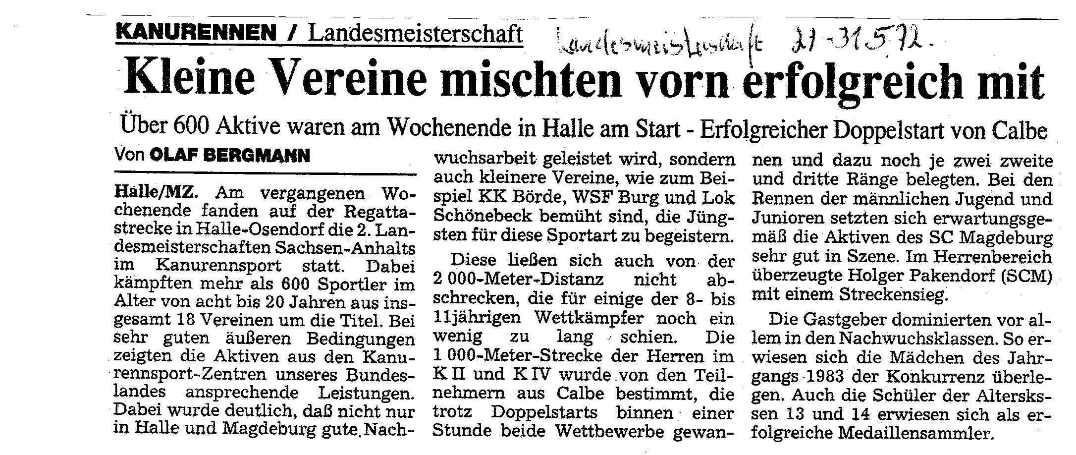 1992-05-31 MZ Kleine Vereine mischten vorn erfolgreich mit