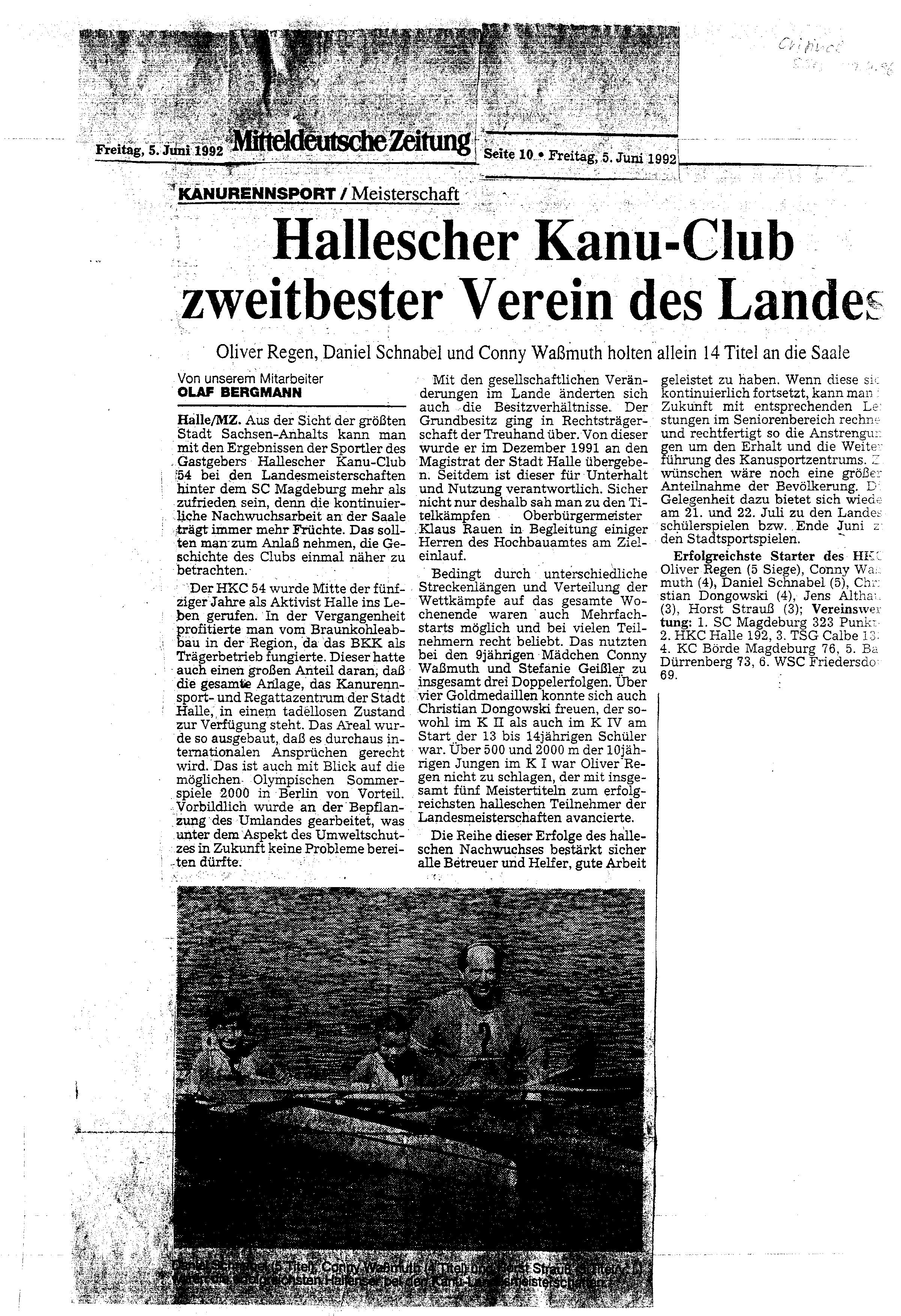 1992-06-05 MZ Hallescher Kanu-Club zweitbester Verein des Landes
