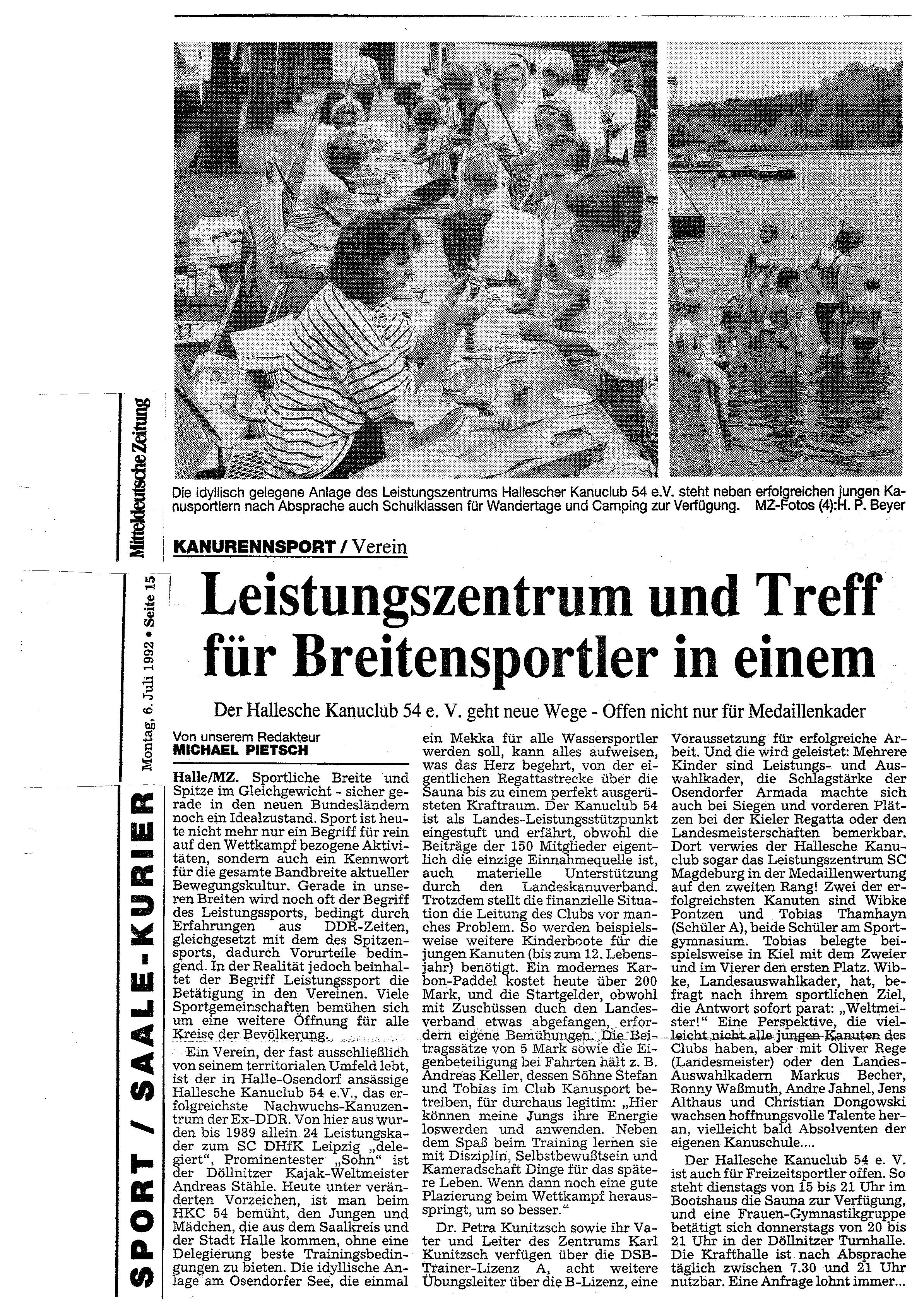 1992-07-06 Leistungszentrum trifft Breitensportler