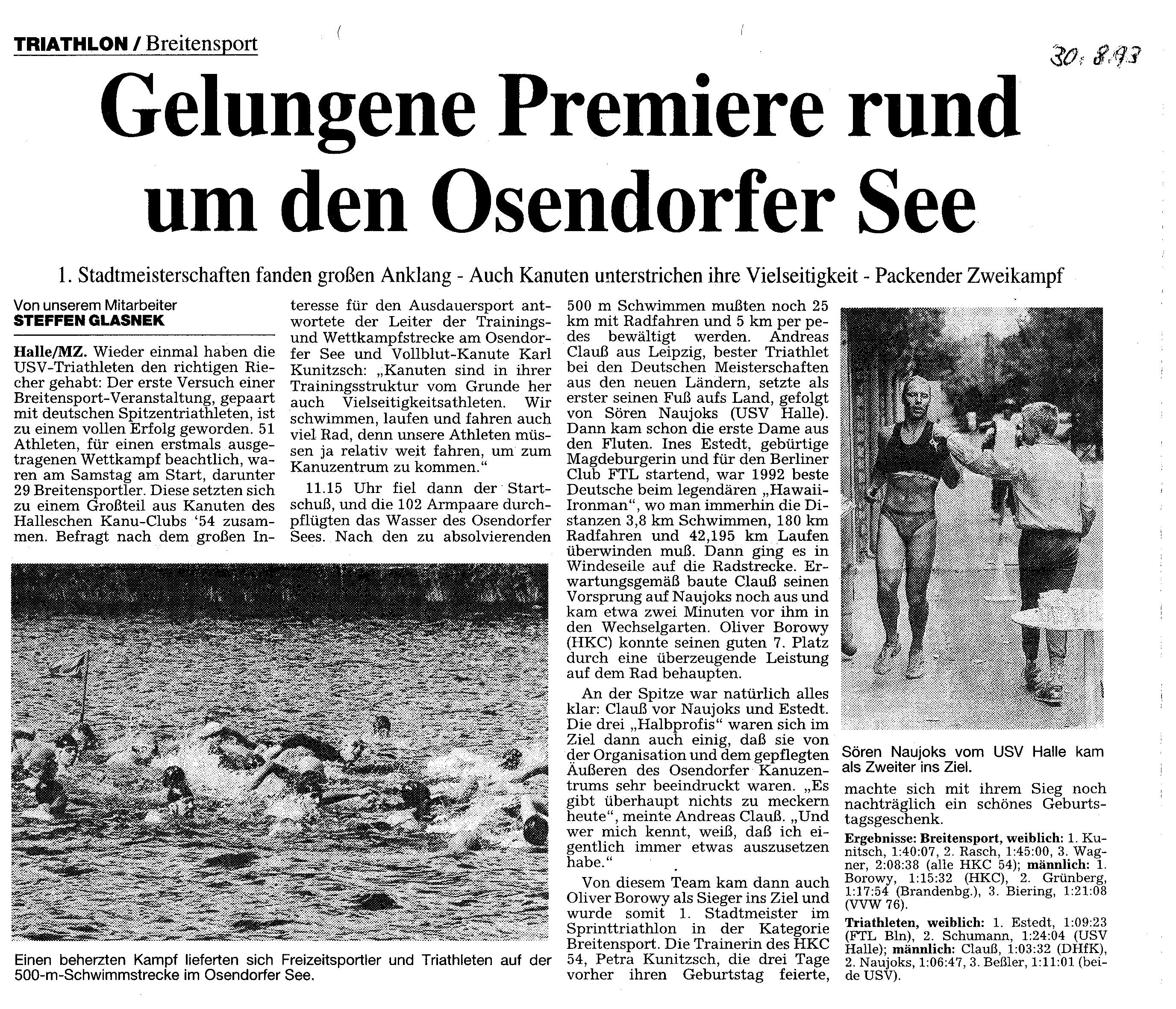 1993-08-30 MZ Gelungene Premiere rundum den Osendorfer See