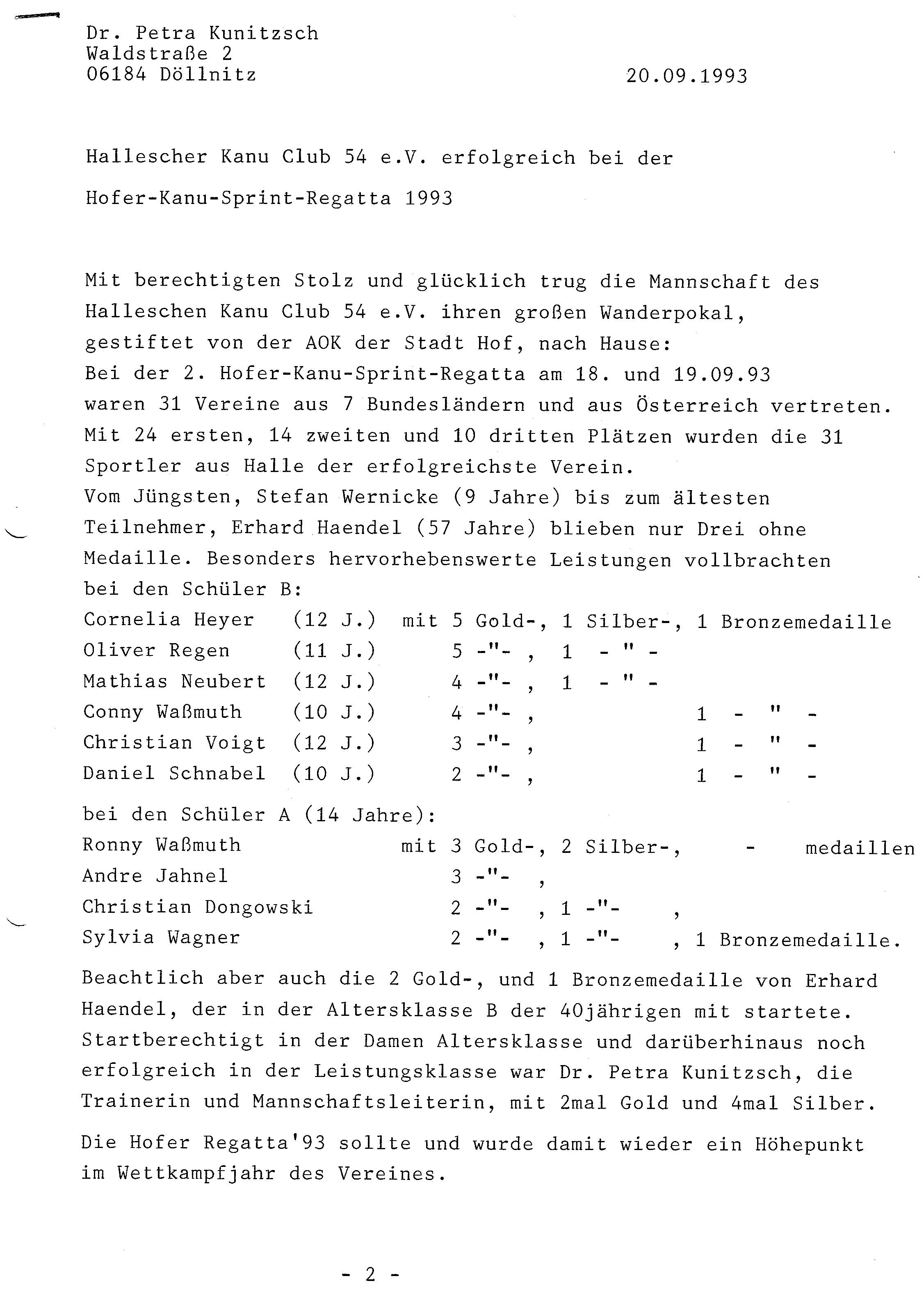 1993-09-20 Hofer Sprintregatta Ergebnisse