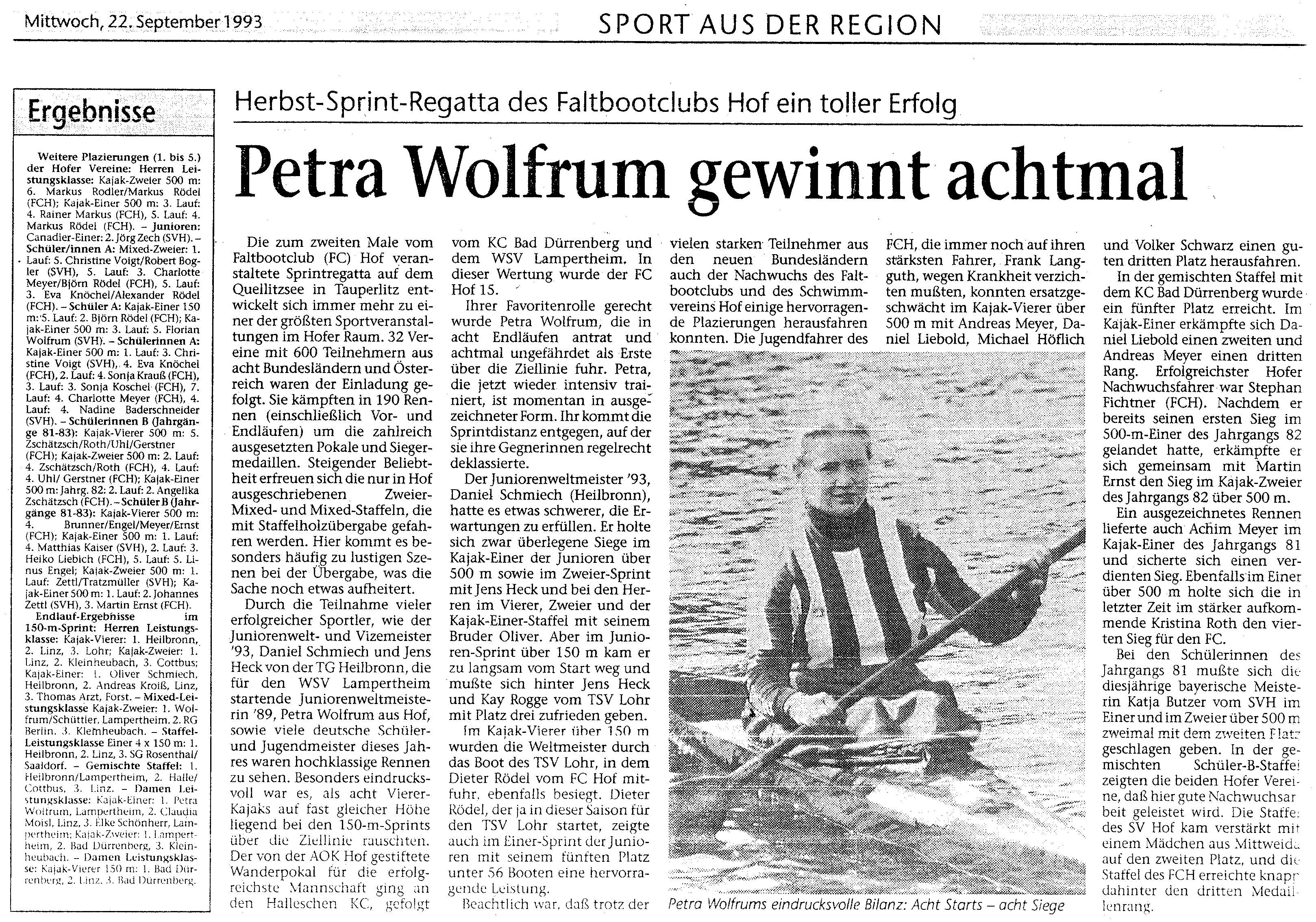 1993-09-22 Herbst Sprintregatta des FC Hof ein toller Erfolg