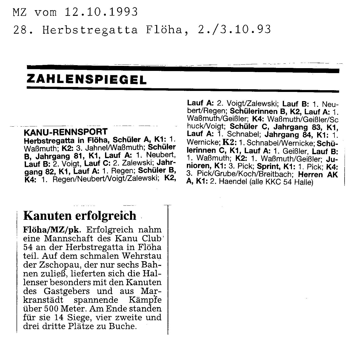 1993-10-03 MZ Kanuten erfolgreich, Flöha