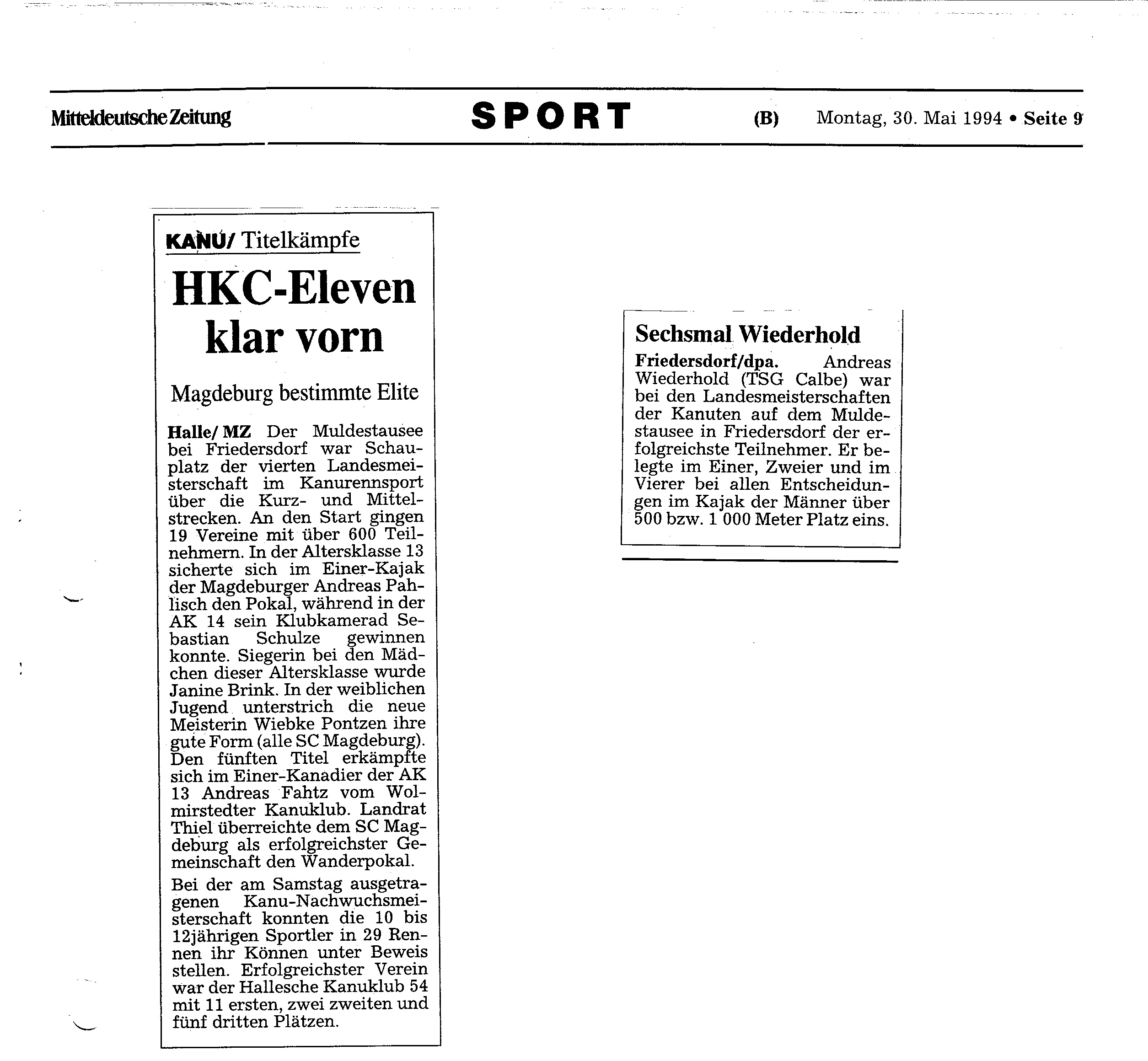 1994-05-30 MZ HKC Eleven klar vorn