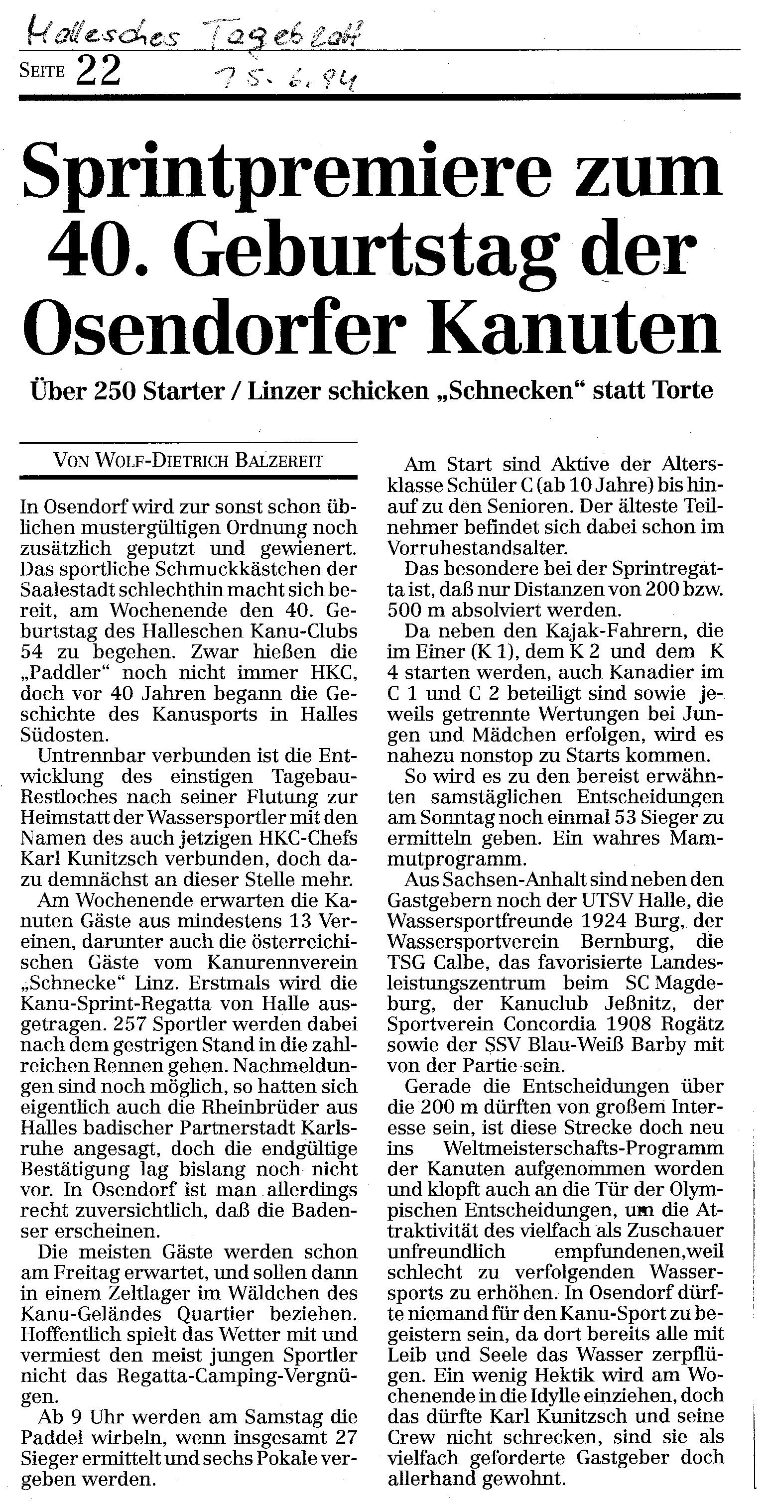 1994-06-15 Hallesches Tageblatt Sprintpremiere zum 40. Geburtstag der Osendorfer Kanuten