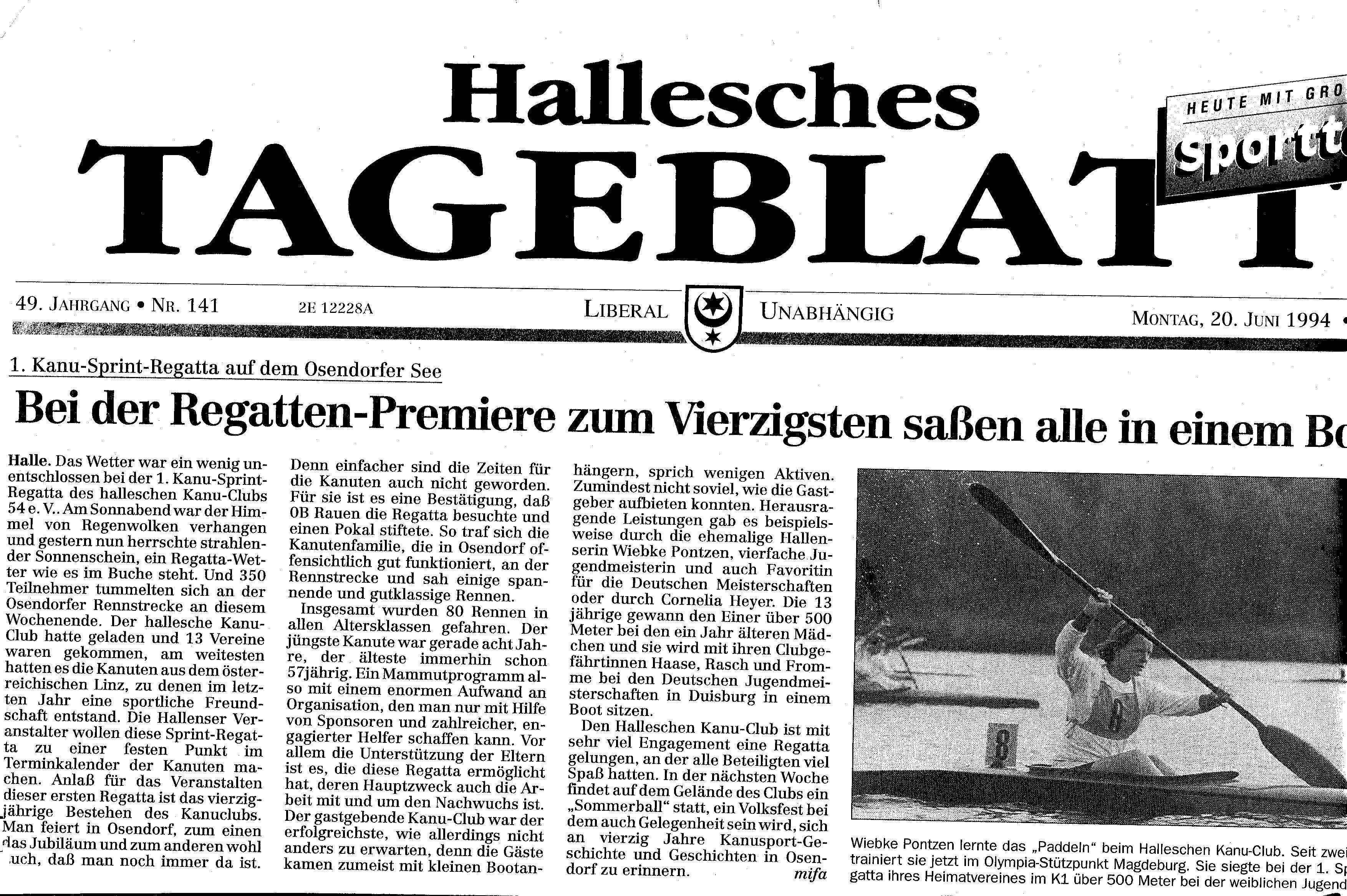 1994-06-20 Hallesches Tageblatt 1. Kanu Sprintregatta, bei Regatta Premiere zum Vierzigsten saßen alle in einem Boot