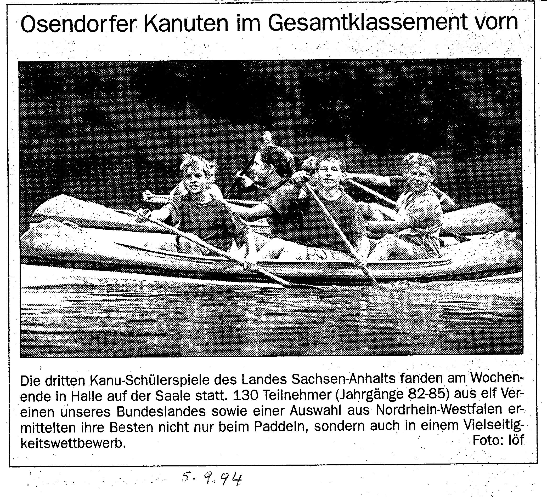 1994-09-05 MZ Osendorfer Kanuten im Gesamtklassement vorn