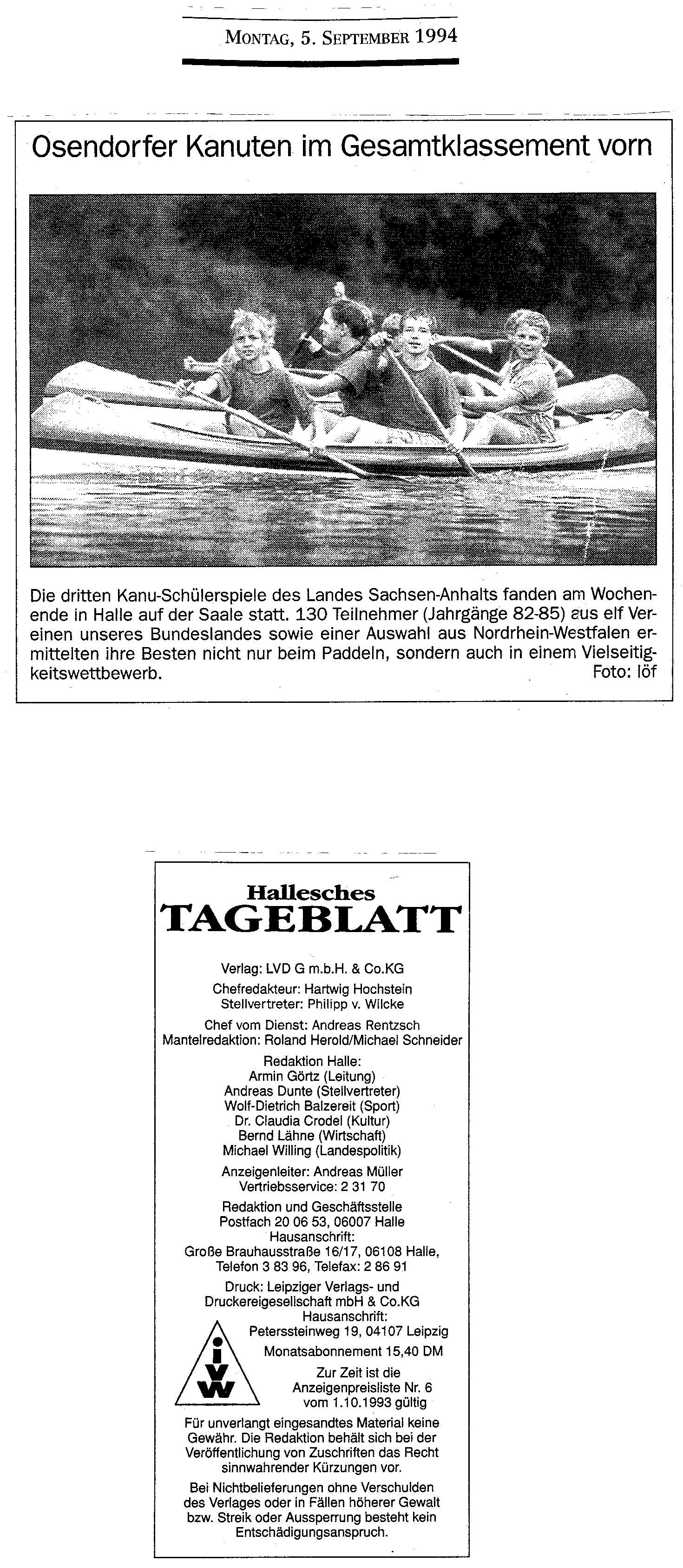 1994-09-05 Osendorfer Kanuten im Gesamtklassement vorn