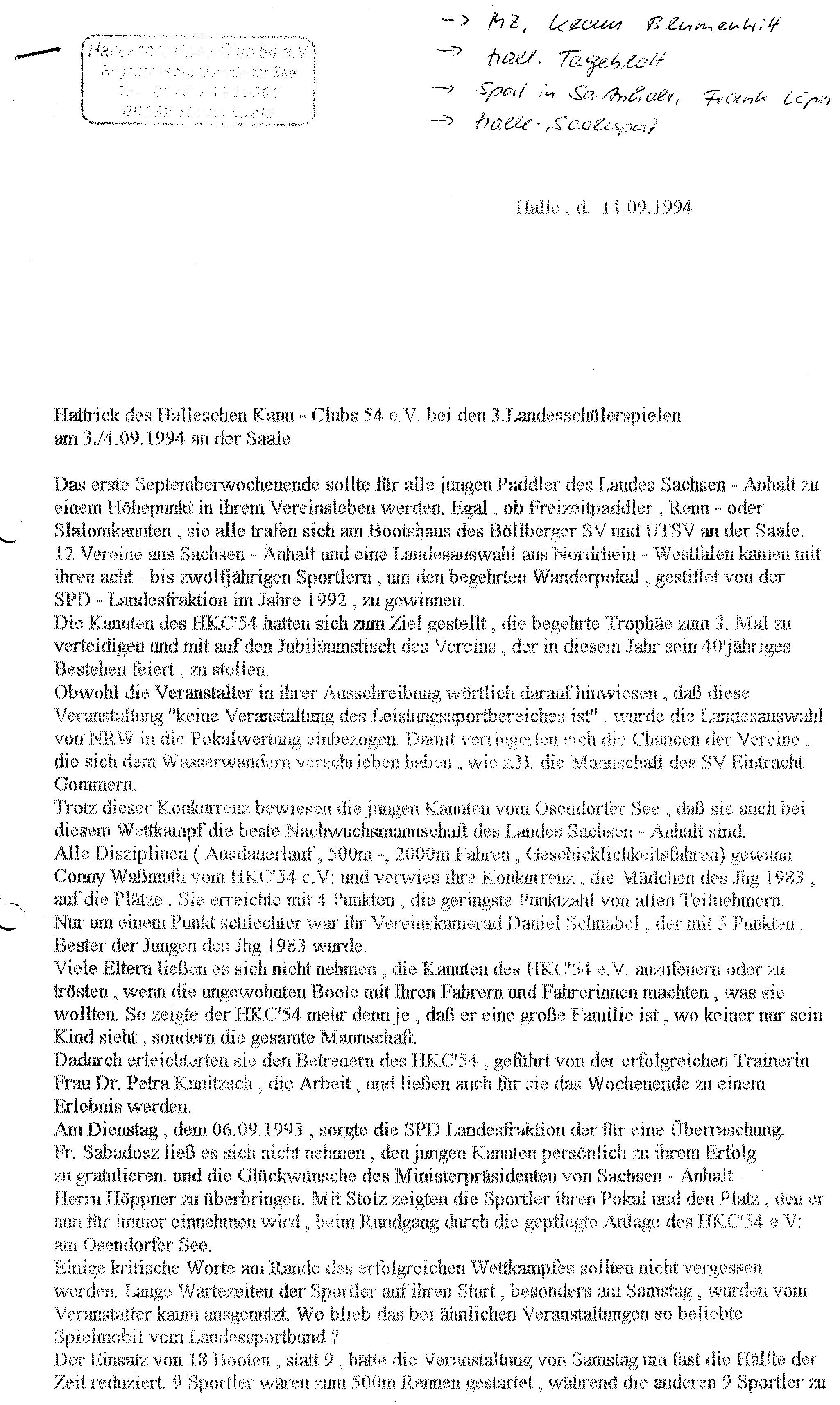1994-09-14 PM Hattrick des HKC
