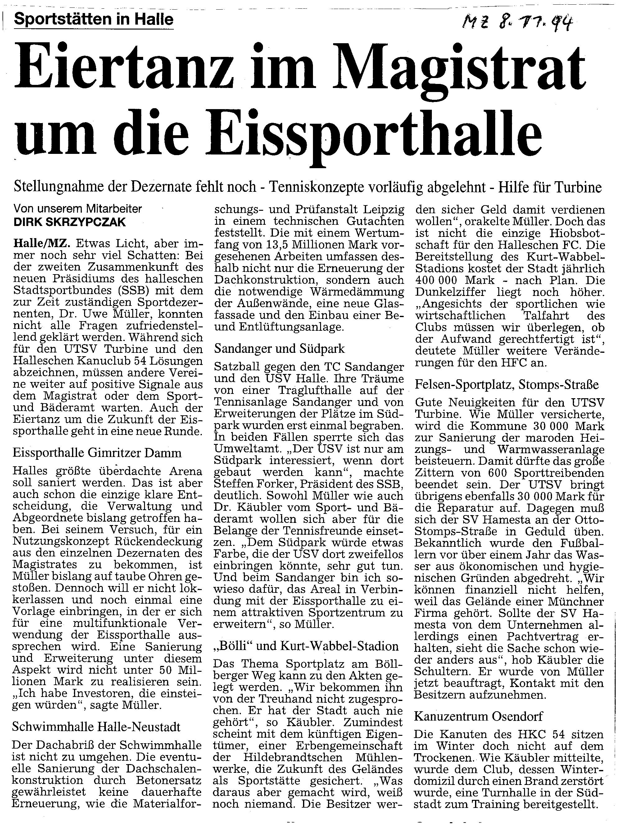 1994-11-08 MZ Eiertanz im Magistrat um die Eissporthalle