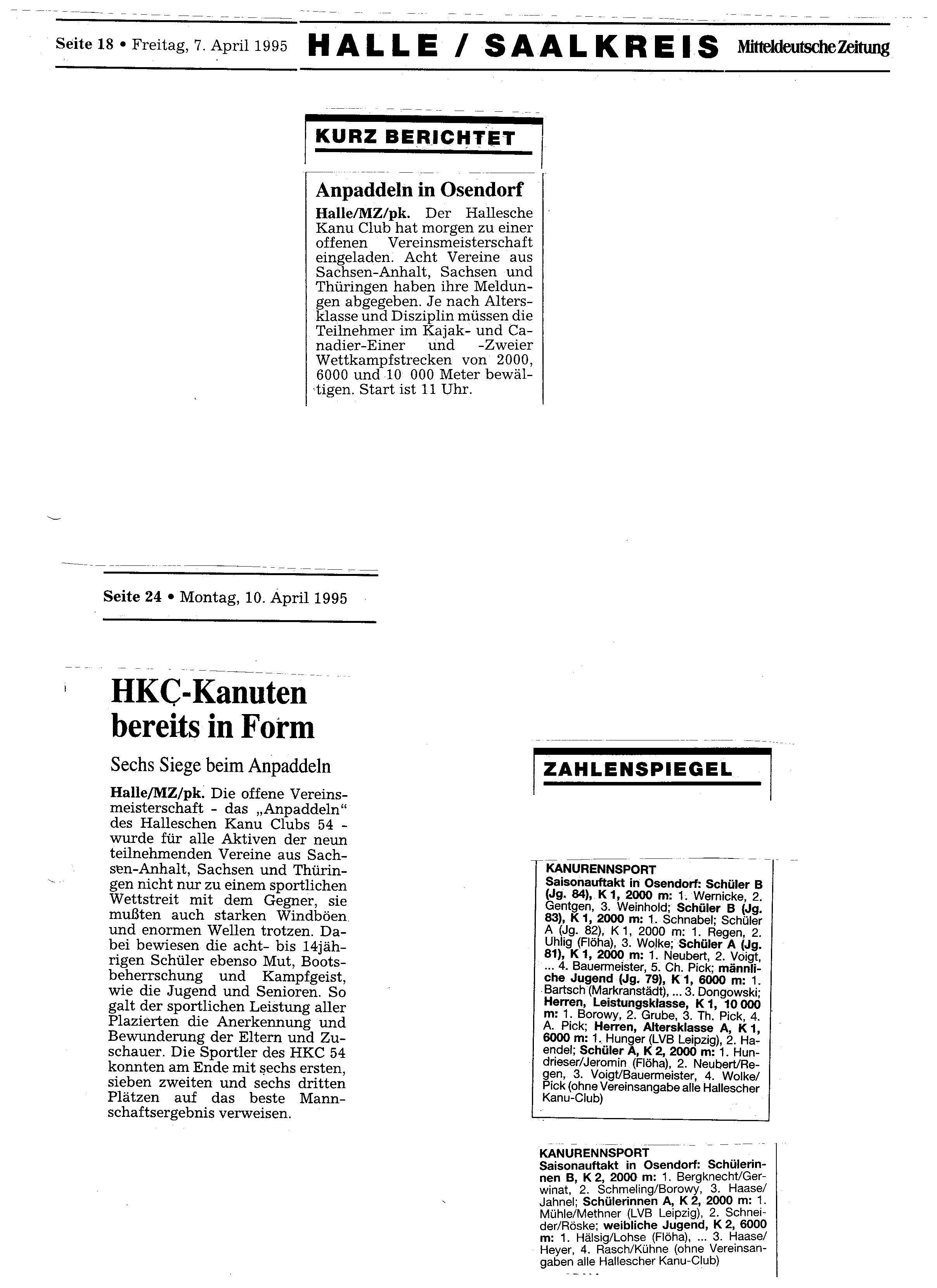 1995-04-07 MZ anpaddeln in Osendorf, HKC Kanuten bereits in Form