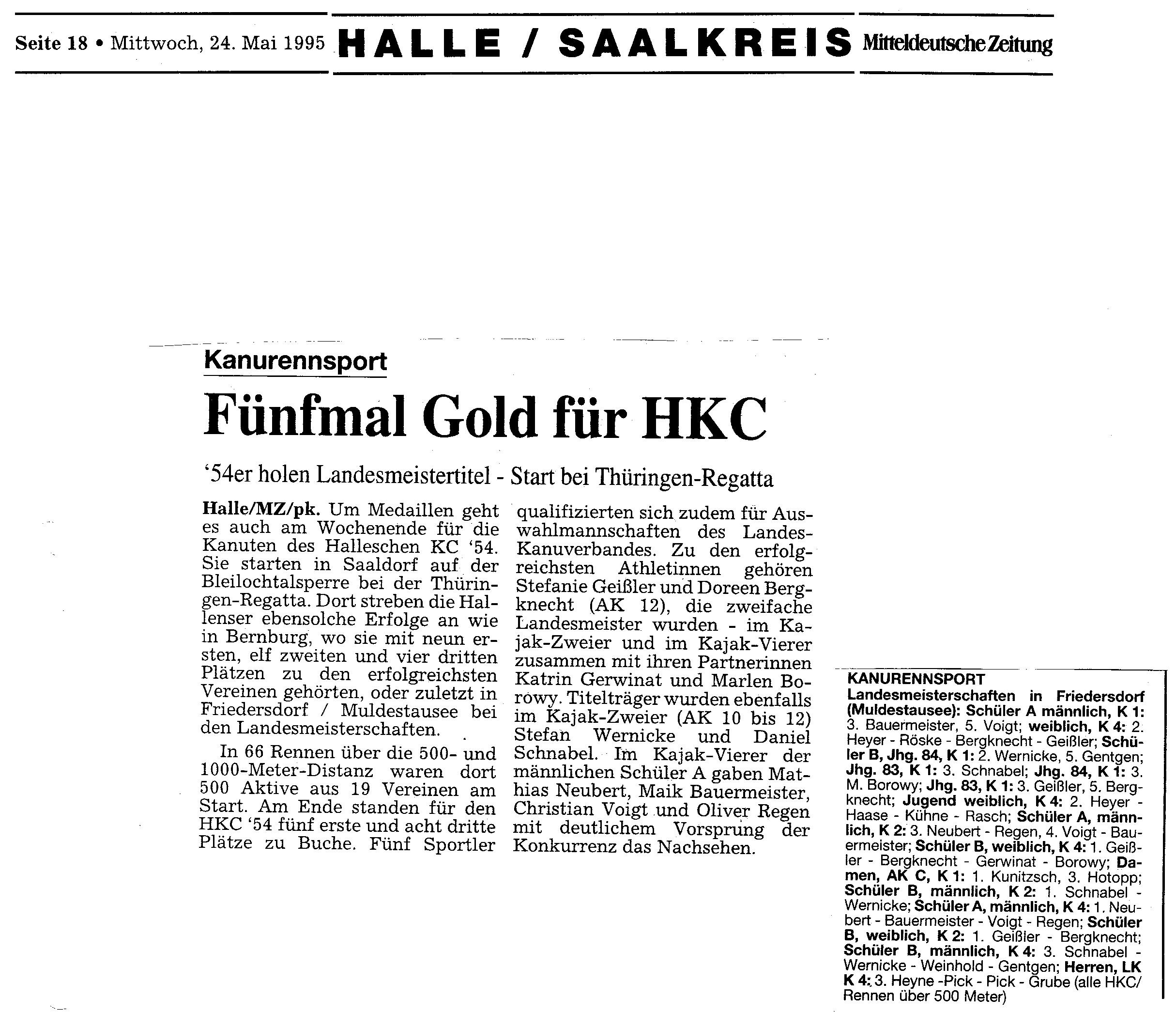 1995-05-24 MZ Fünfmal Gold für HKC