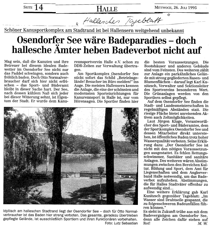 1995-07-26 Hallesches Tageblatt Osendorfer See wäre Badeparadies- doch hallesche Ämter heben Badeverbot nicht auf