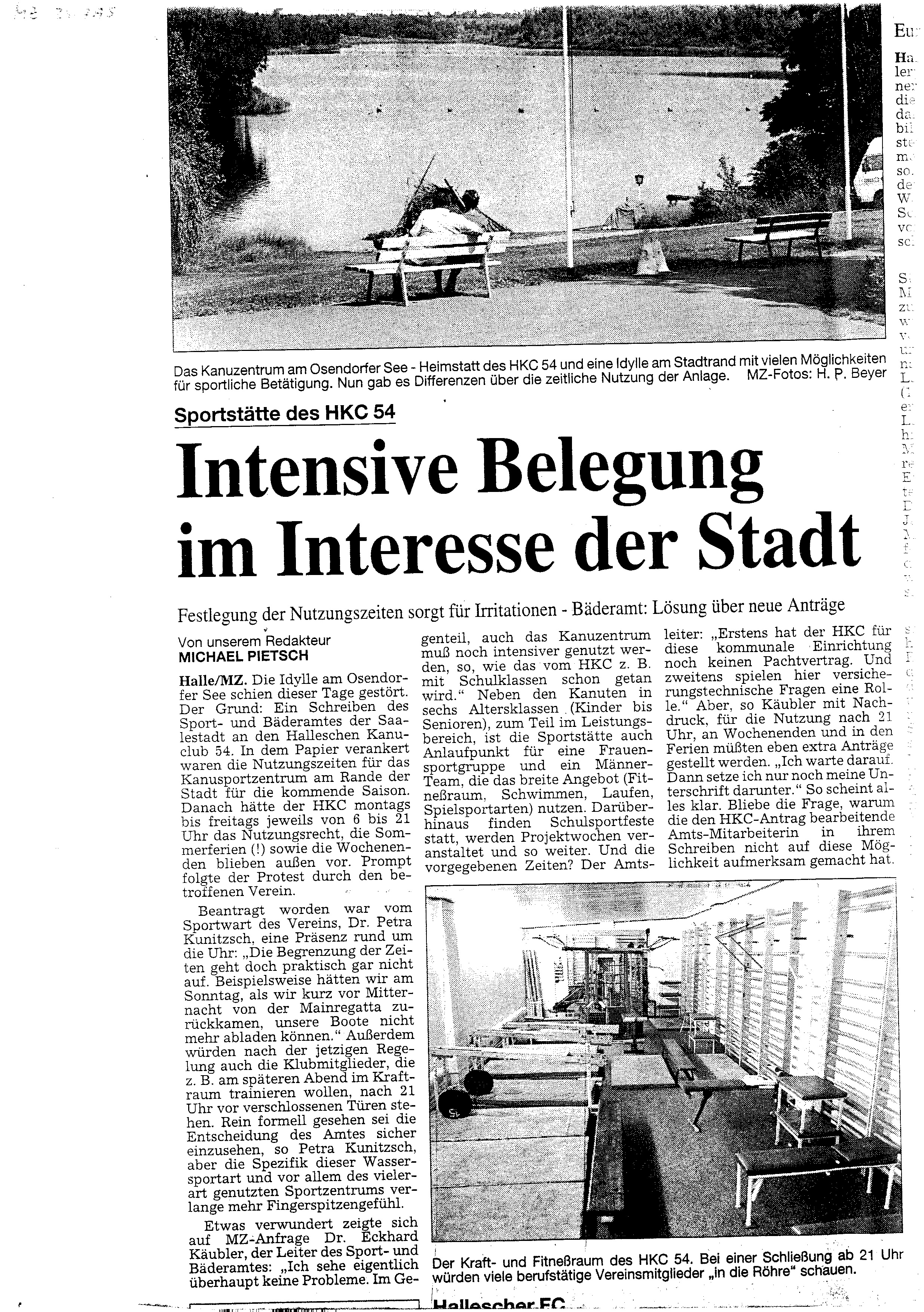 1995-07- MZ Intensive Belegung im Interesse der Stadt