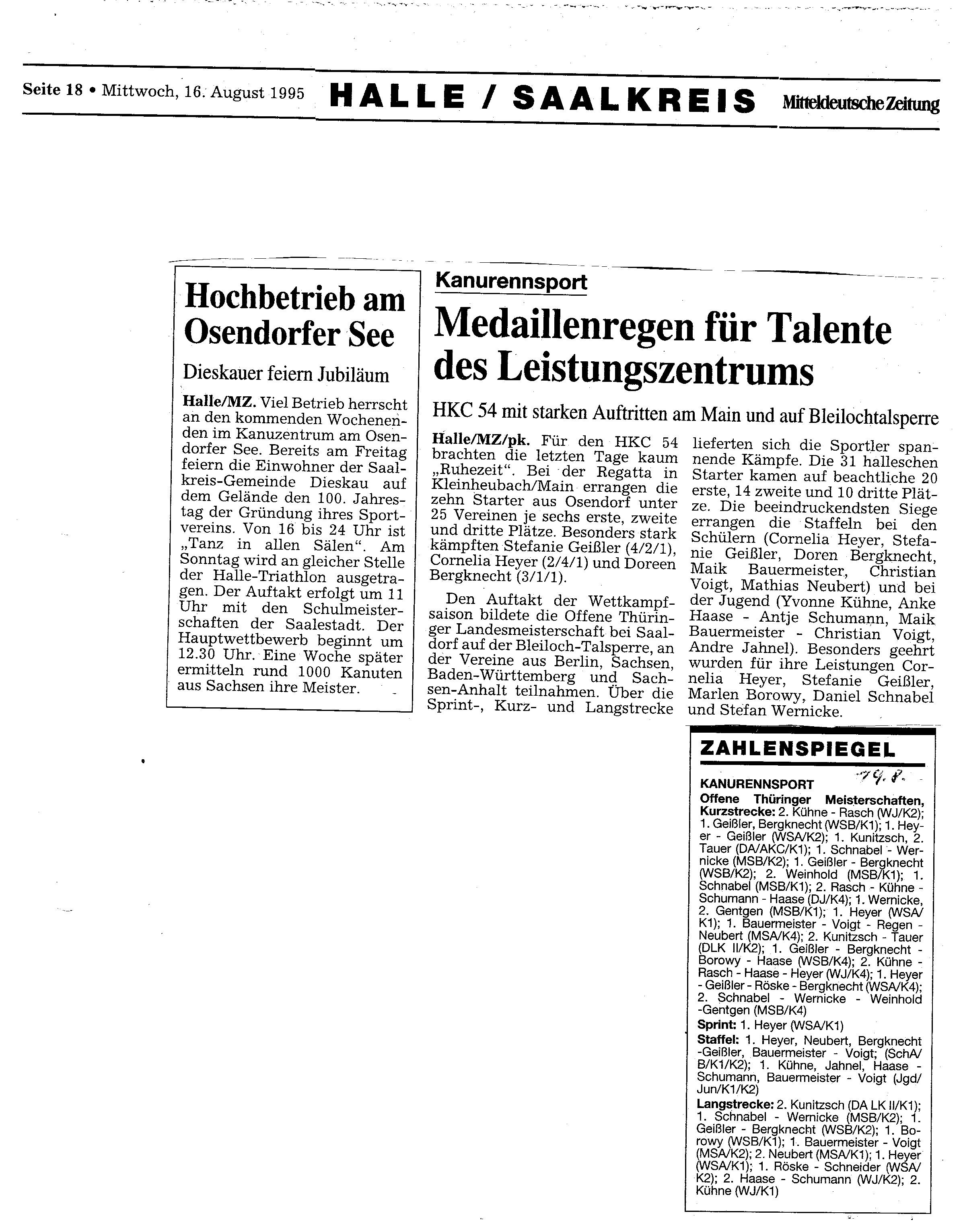 1995-08-16 MZ Hochbetrieb am Osendorfer See, Medaillenregen für Talente des Leistungszentrums