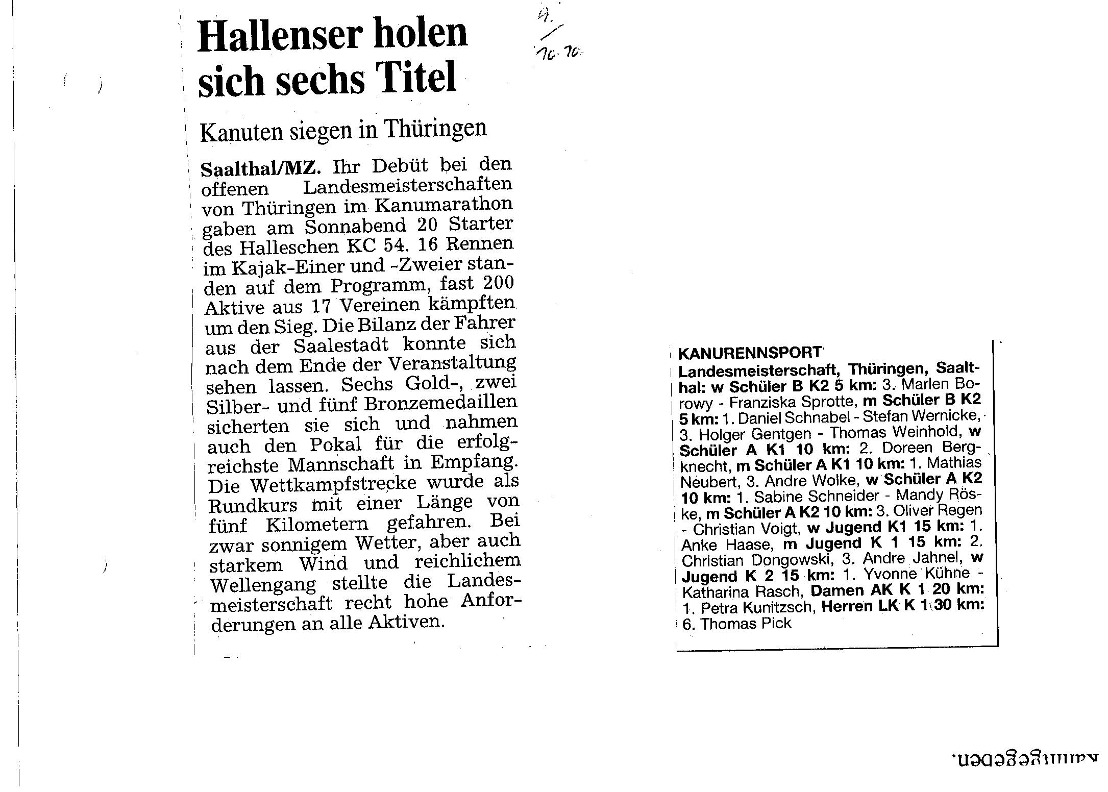 1995-10 Hallenser holen sich sechs Titel