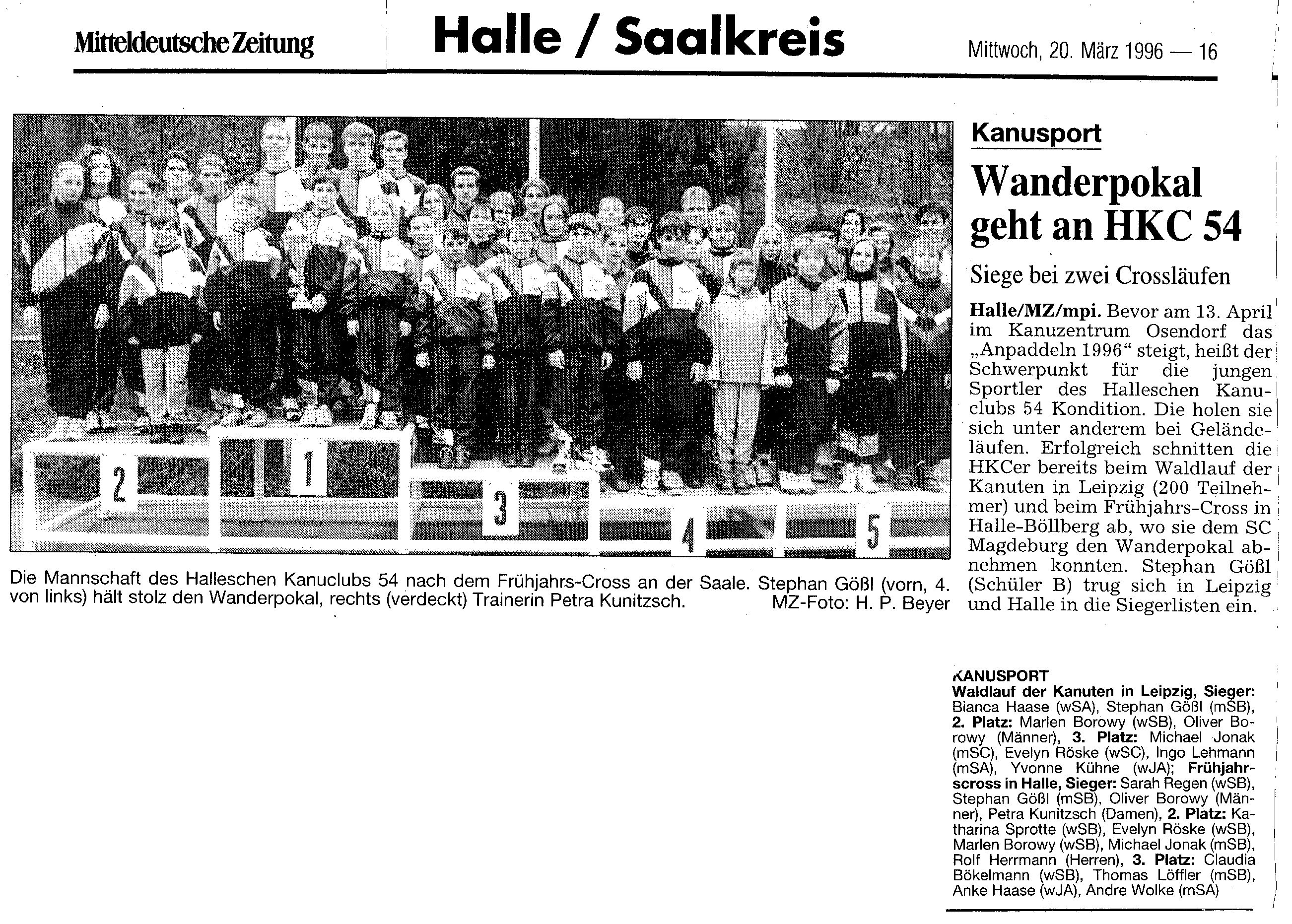 1996-03-20 MZ Wanderpokal geht an HKC 54