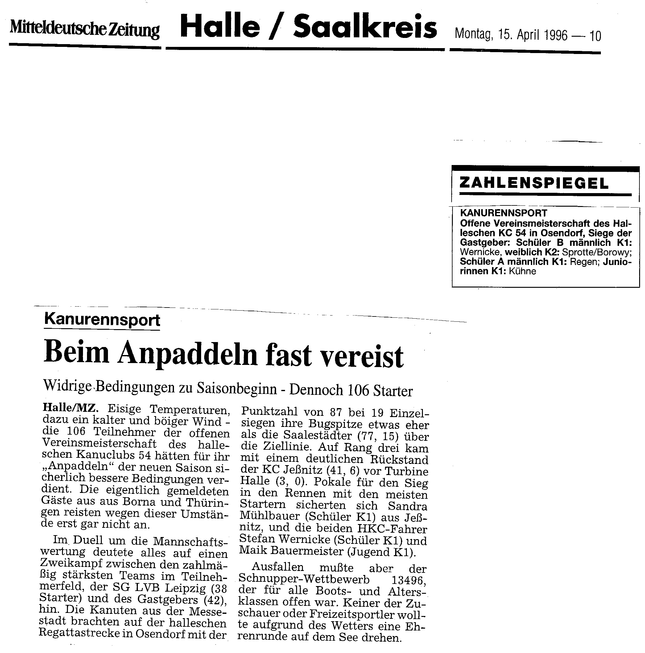 1996-04-15 MZ Beim Anpaddeln fast vereist