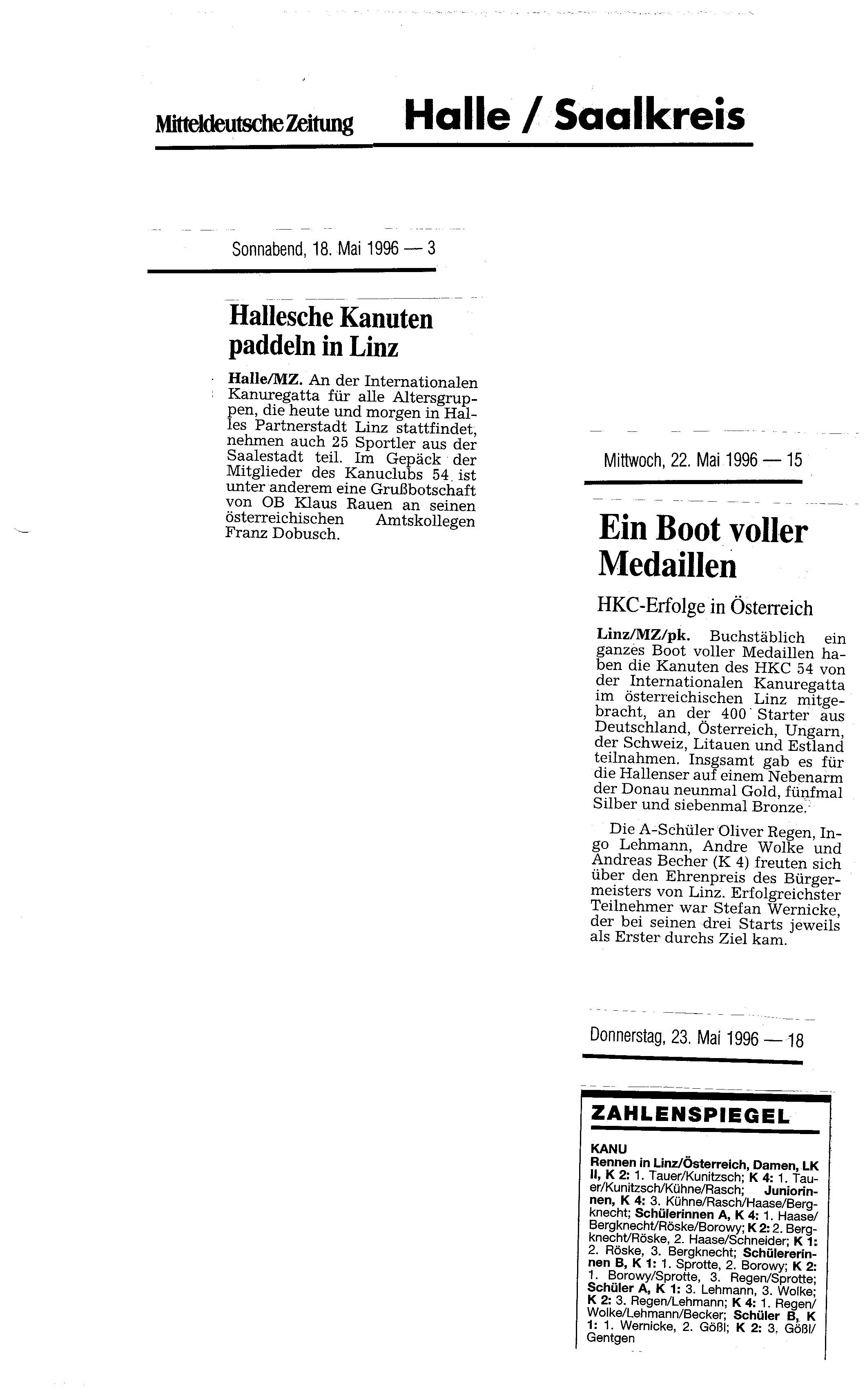 1996-05-18 MZ Hallesche Kanuten paddeln in Linz, ein Boot voller Medaillen
