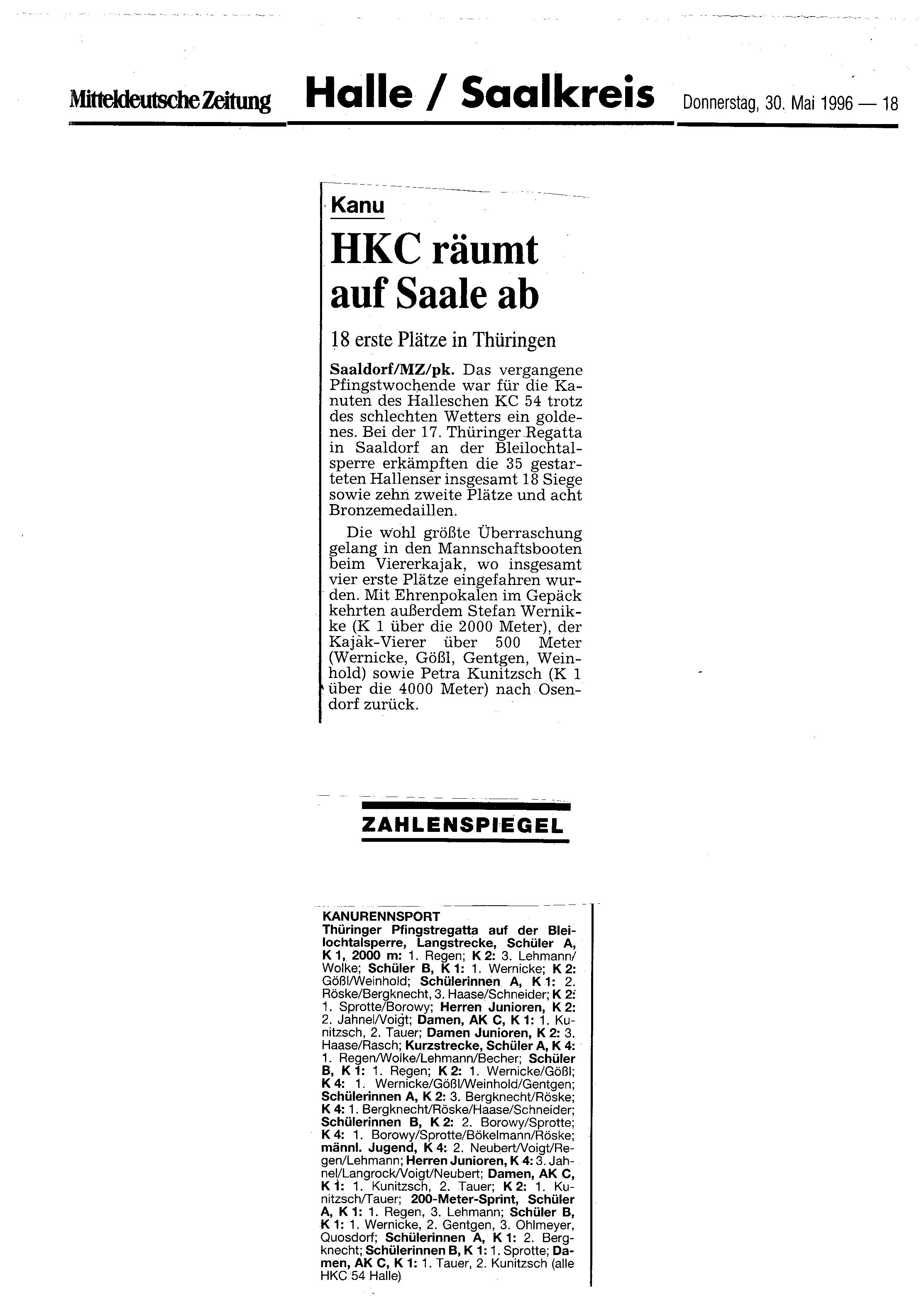1996-05-30 MZ HKC räumt auf Saale ab