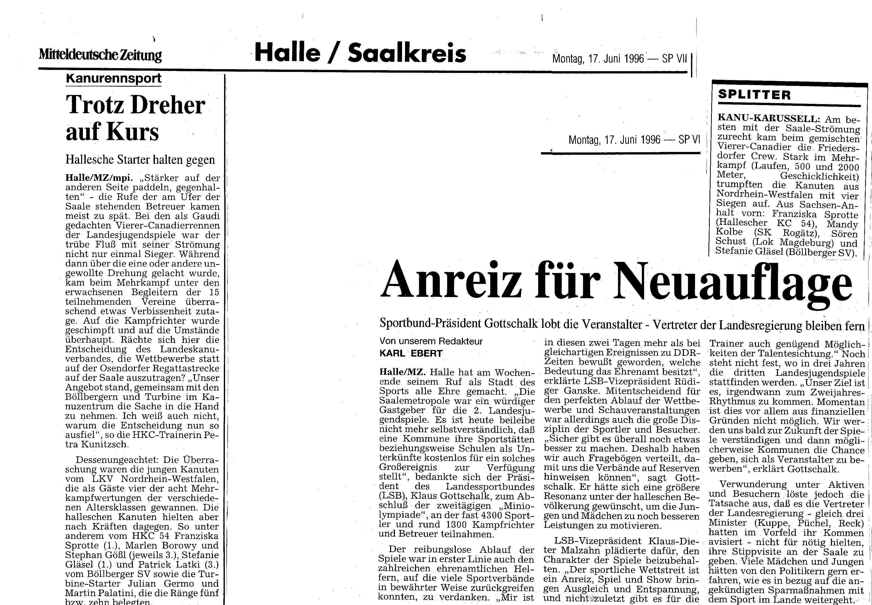 1996-06-17 MZ Trotz Dreher auf Kurs, Anreiz für Neuauflage