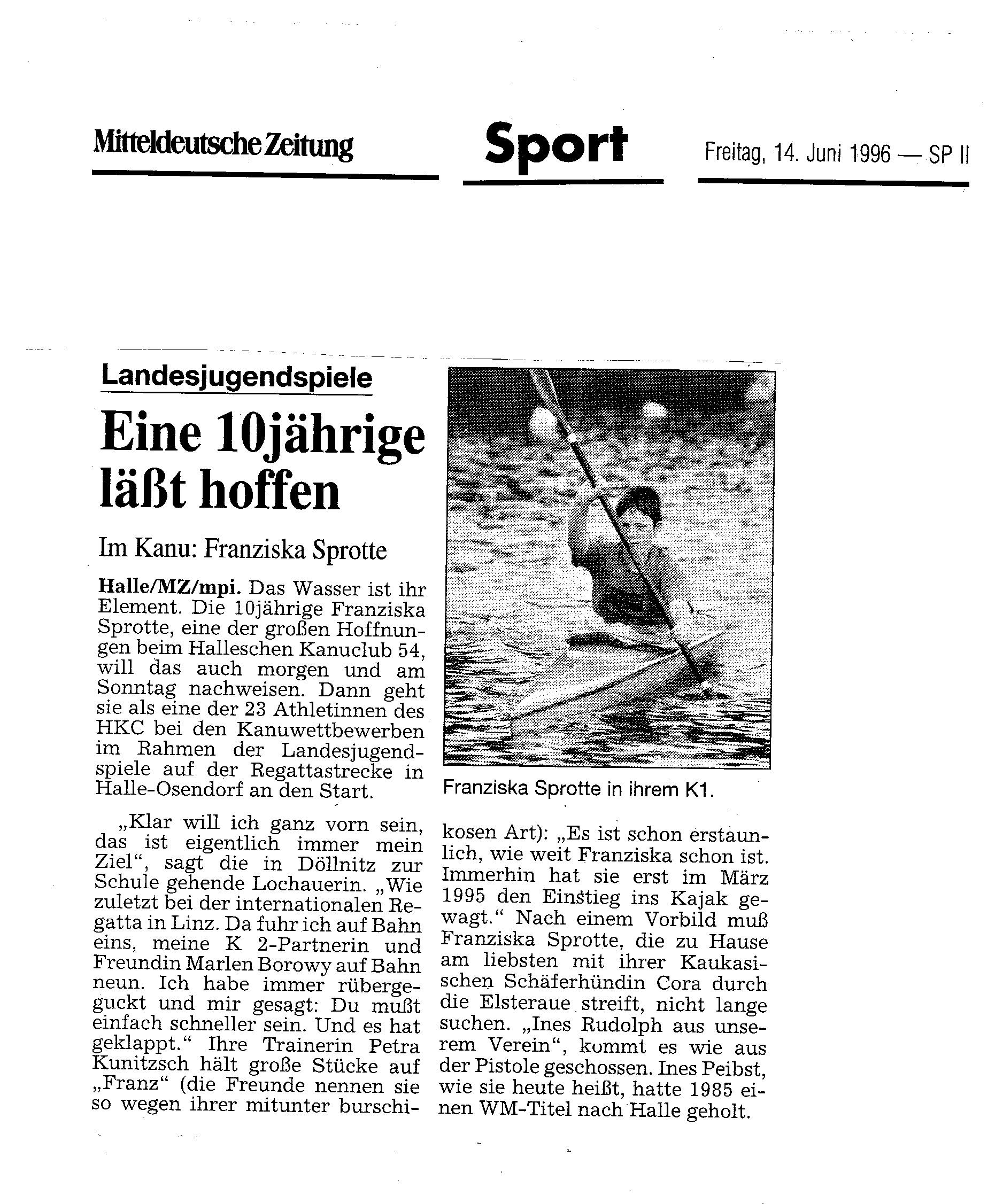 1996-06-4 MZ Eine 10jährige läst hoffen