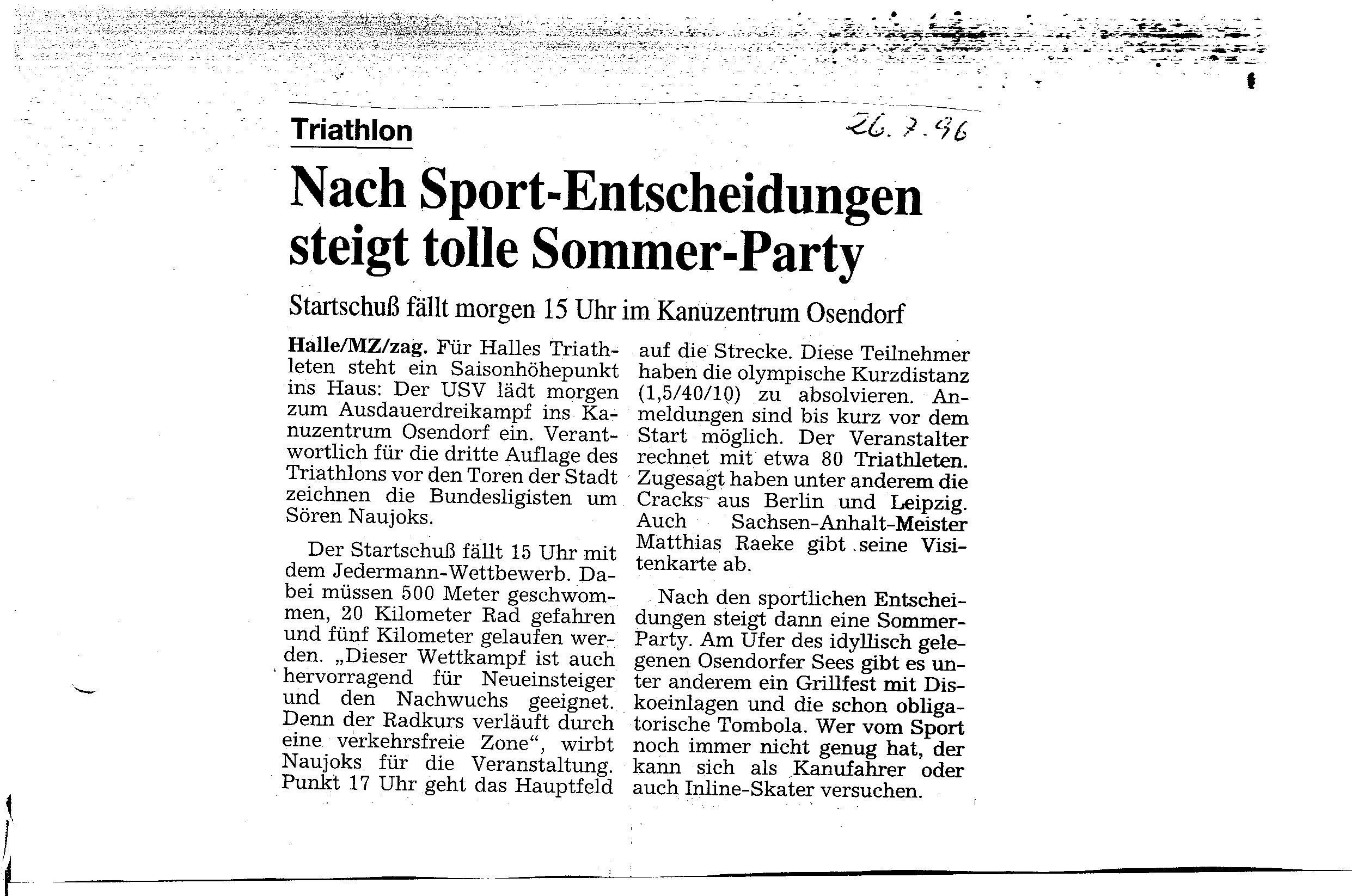 1996-07-26 MZ Nach Sport Entscheidungen steigt tolle Sommerparty