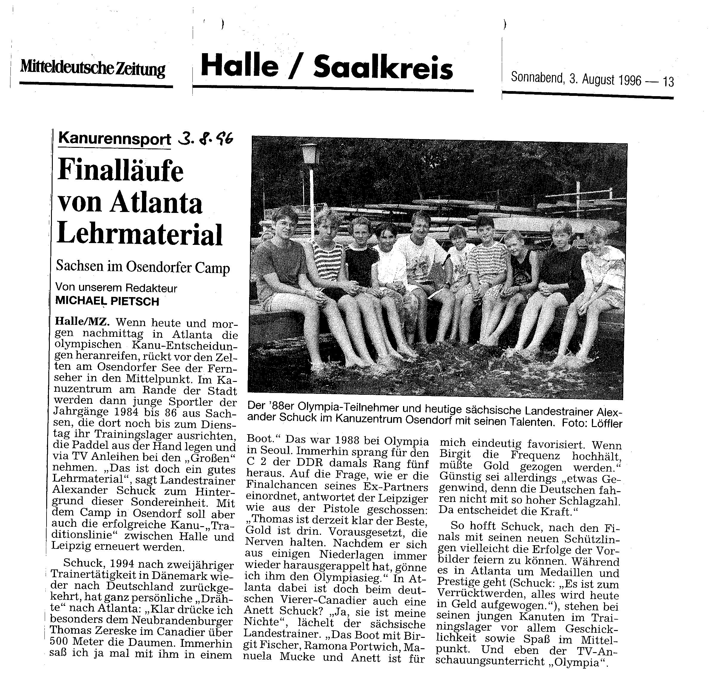 1996-08-03 MZ Finalläufe von Atlanta Lehrmaterial