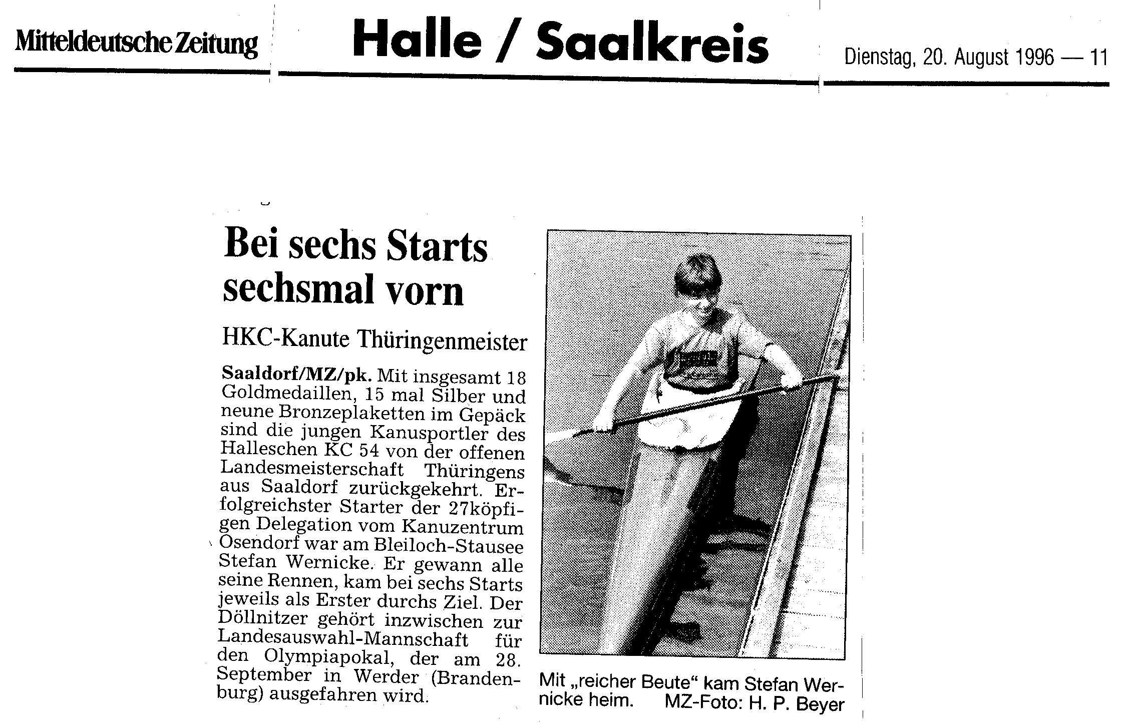 1996-08-20 MZ Bei sechs Starts sechsmal vorn