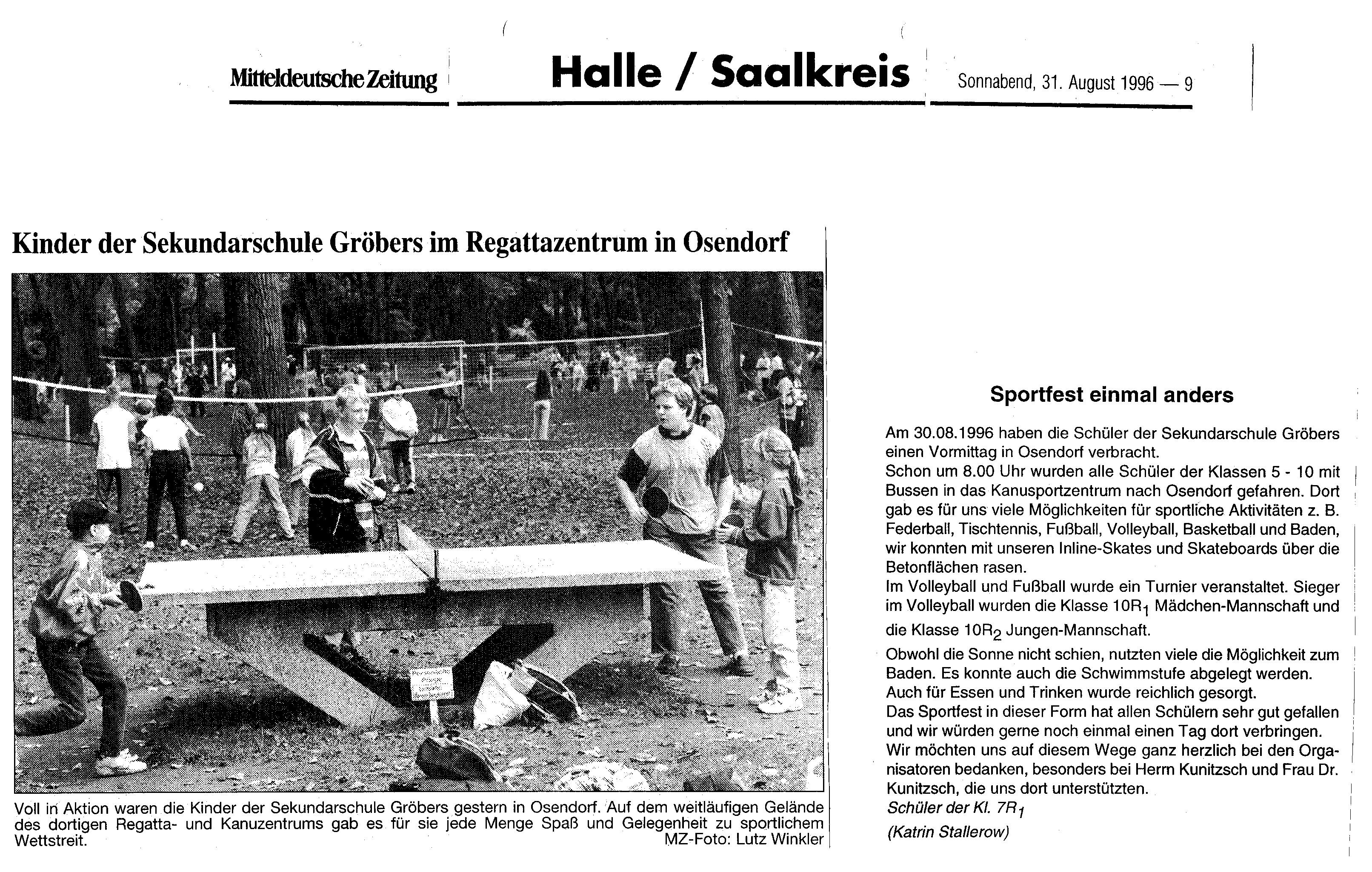 1996-08-31 MZ Kinder der Sekundarschule Gröbers im Regattazentrum in Osendorf