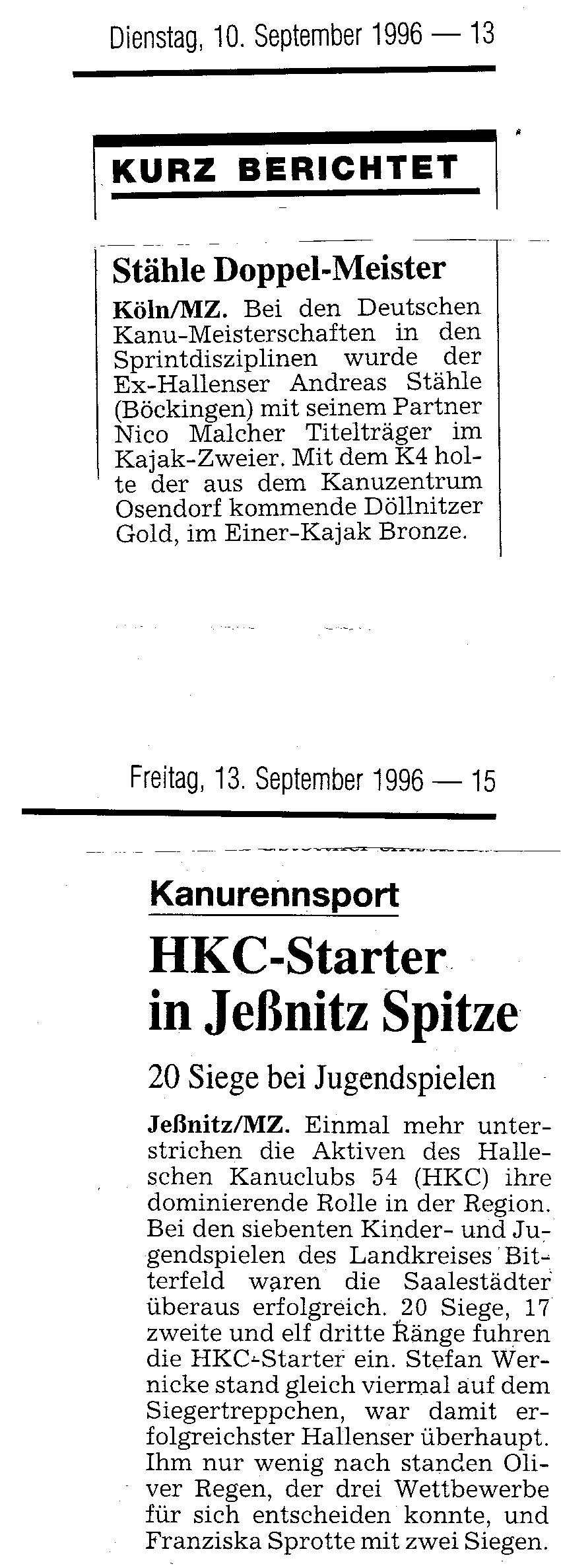 1996-09-10 MZ Stähle Doppel Meister, HKC Starter in Jeßnitz Spitze