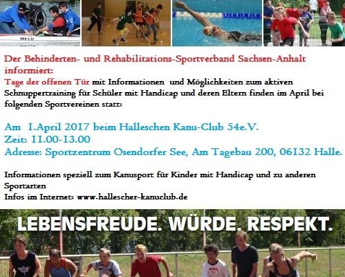 Parakanu Schnuppertraining 01.04.2017 von 11-13 Uhr am Osendorfer See